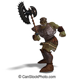 Male Fantasy Orc Barbarian with Giant Axe. 3D rendering with...