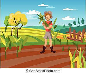 Male farmer harvesting crop, cultivated agriculture field, rural landscape vector Illustration