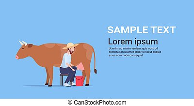 male farmer milking cow in bucket farm domestic animal cattle eco farming breeding concept flat horizontal copy space