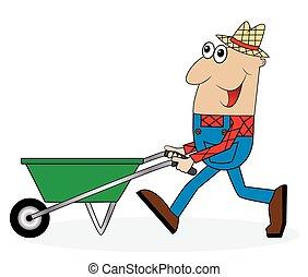 male farmer pushing a cart