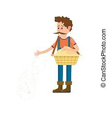 Male farmer seeding vector icon