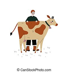 Male Farmer Standing Next to Spotted Cow, Dairy Cattle Animal Husbandry Breeding Vector Illustration