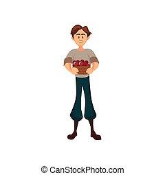 Male farmer standing with basket of cherry, gardener harvesting berries cartoon vector Illustration