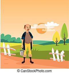 Male farmer standing with bucket, cultivated agriculture field, rural landscape vector Illustration
