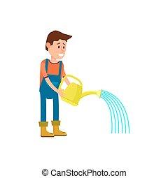 Male farmer watering vector icon