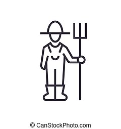 male farmer with hayfork linear icon, sign, symbol, vector on isolated background