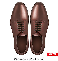 Male fashion classic brown shoes. Vector. - Male fashion...