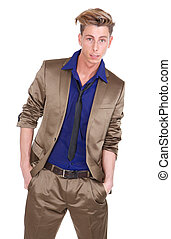 Male fashion model in shiny suit