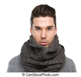 Male fashion model posing with gray wool scarf