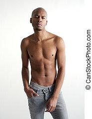 Male fashion model posing with no shirt