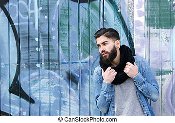 Male fashion model with beard