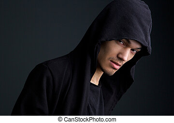 Male fashion model with hooded sweat shirt