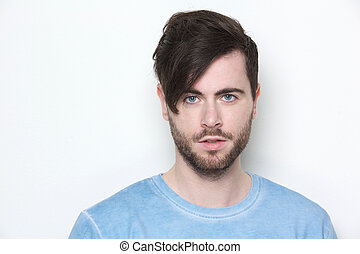 Male fashion model with modern hairstyle