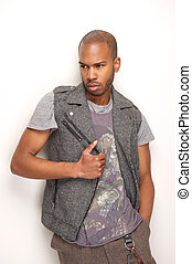 Male fashion model with serious expression
