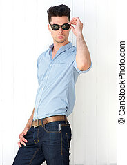Male fashion model with sunglasses