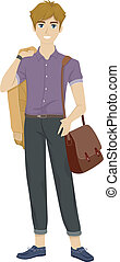 Male Fashionista - Illustration of a Male Teenager Wearing...