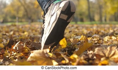Male feet walking and rustling with yellow leaves in a park in autumn in slo-mo