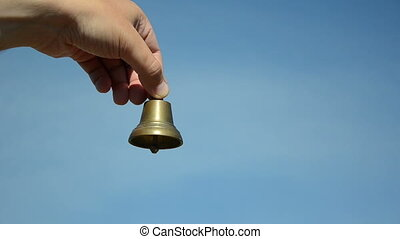 male female bell ring sky - Male and female hands ding with...