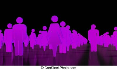 Male female crowd people icons business team sexes gender 4K