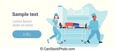 male female doctors moving patient in hospital bed stretcher medical mix race staff in uniform transporting man to operation copy space full length horizontal