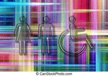 Male, Female, Handicap toilet sign, restroom sign