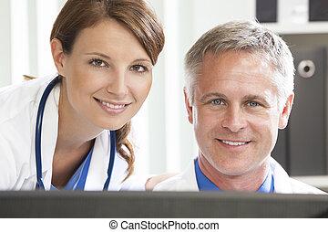 Male Female Hospital Doctors Using