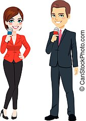 Male Female News Reporter - Standing male and female...
