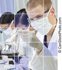 Male & Female Scientific Researchers in Laboratory
