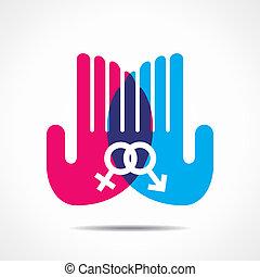 male female symbol in hand
