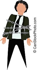 male figure tied with chain