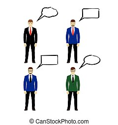 Male figures icons with speech bubb
