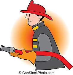 Male firefighter holding a fire hose and wearing a helmet