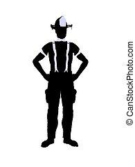 Male Firefighter Illustration Silhouette - Male firefighter...
