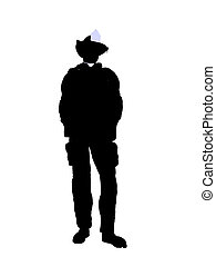 Male Firefighter Illustration Silhouette - Male firefighter...