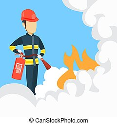 Male firefighter with extinguisher.