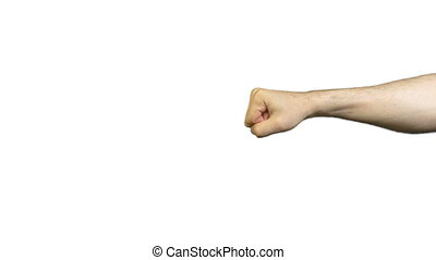 Male fist and punch on white background - Footage of male...