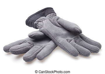 Male fleece gloves on white background