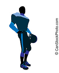 Male Football Player Illustration Silhouette - Male football...