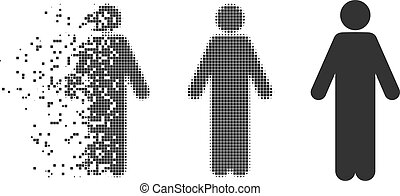 Male Fractured Pixel Halftone Icon
