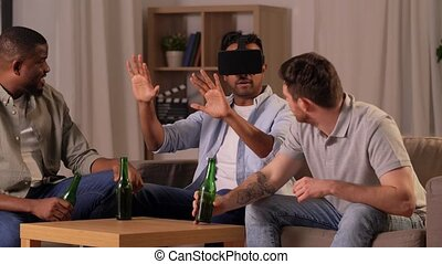 male friends with vr glasses at home at night - friendship, ...