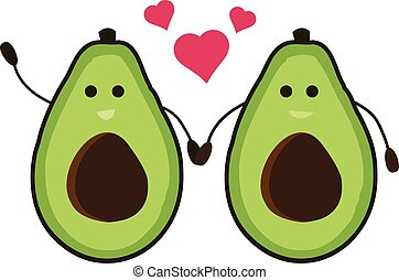 Male Gay avocado cartoon holding hand and loving each other