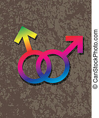 Male Gay Gender Symbols Interlocking Illustration - Male Gay...