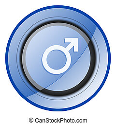 Male gender sign blue glossy web icon