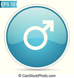Male gender sign blue vector icon