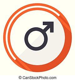 Male gender sign orange flat design vector web icon