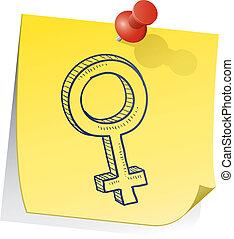 Male gender sticky note