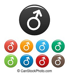 Male gender symbol icons set simple