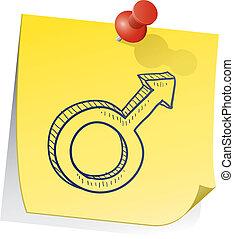Male gender symbol sticky note