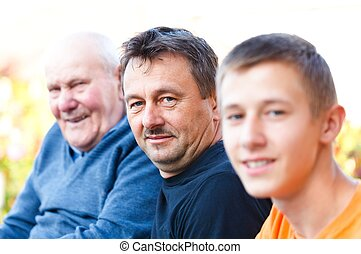 Male Generations - Portrait of male generations in the...