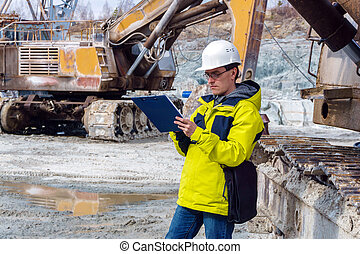 male geologist or mining engineer at work